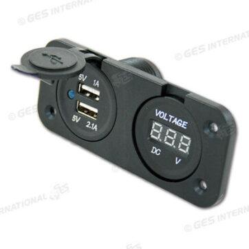 Supporto con 2 USB e volmetro